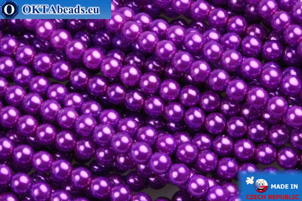 Czech glass pearls lilac 4mm, 60pc