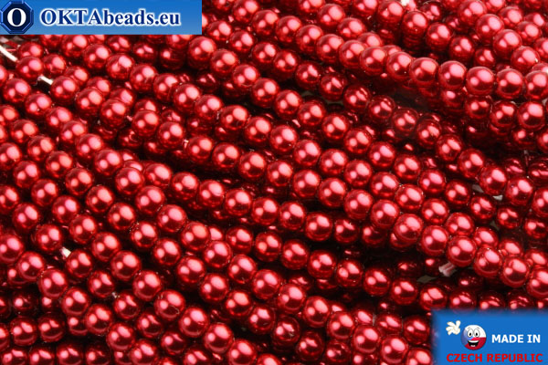 Czech glass pearls red 3mm, 75pc