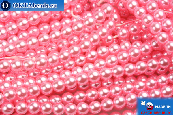 Czech glass pearls pink 4mm, 60pc