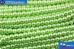 České voskové perle světle zelený 3mm, ~75ks