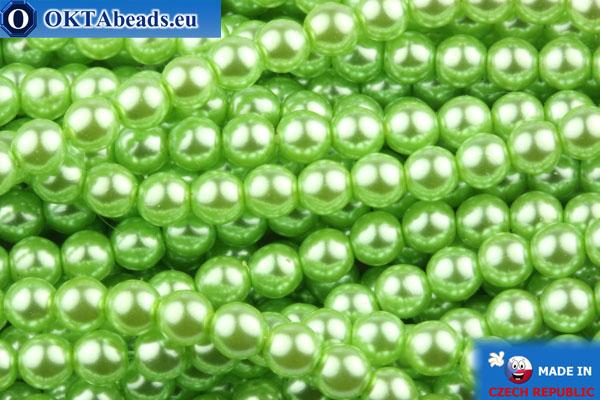 České voskové perle světle zelený 4mm, ~60ks