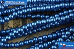 Czech glass pearls blue 2mm, ~75pc