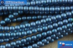 Czech glass pearls blue matte 2mm, ~75pc