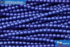Czech glass pearls blue matte (70033M) 3mm, ~75pc