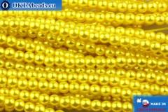 Czech glass pearls yellow 3mm, ~75pc