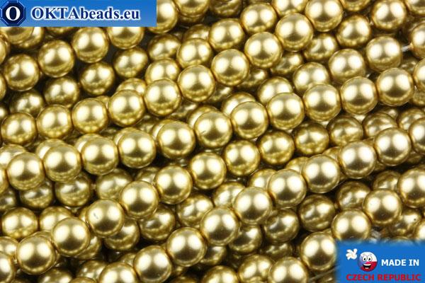 České voskové perle zlato 4mm, ~60ks