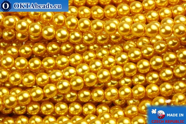 Czech glass pearls gold 4mm, 60pc