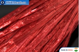 Рафия жемчужная красная 5мм, 1м W0045