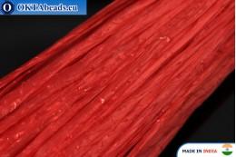 Рафия жемчужная красная 5мм, 1м W0052