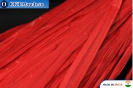 Рафия жемчужная красная 5мм, 1м W0054