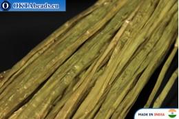 Рафия жемчужная зеленая 5мм, 1м W0051