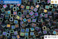 MIYUKI Square Beads Opaque Frosted Rainbow Black (401FR) 4mm 4CBM401FR