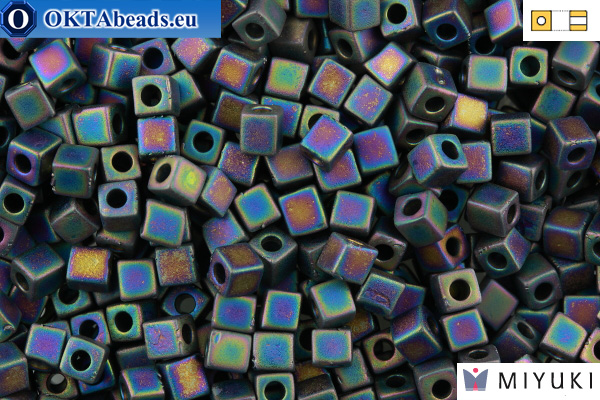 MIYUKI Square Beads Opaque Frosted Rainbow Black (401FR) 4мм