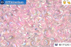 MIYUKI Long Magatama Beads Pink Lined Crystal AB (2144)