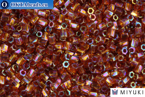 MIYUKI Twist Hex Cut Beads Golden Brown Transparent Rainbow 10/0 (257)