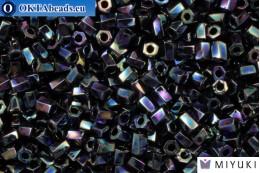 MIYUKI Twist Hex Cut Beads Matte Opaque Black AB (401R) 10/0, 10гр 10TW401R