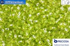 Прециоза чешский бисер 1 сорт салатовый с прокрасом серебром соль-гель (78153) 10/0, 50гр