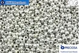 Прециоза чешский бисер 1 сорт серебро металлик матовый (01700) 10/0, 50гр