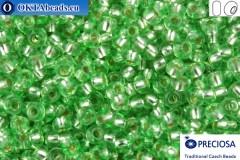 Прециоза чешский бисер 1 сорт зеленый с прокрасом серебром соль-гель (78161) 10/0, 50гр R10PR78161