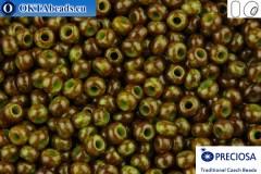 Прециоза чешский бисер 1 сорт зеленый травертин (59310) 10/0, 50гр