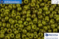 Прециоза чешский бисер 1 сорт зеленый травертин (59943) 10/0, 50гр