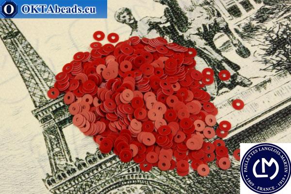 Французские пайетки Langlois-Martin красные (6506) 4мм, 1000шт PP029