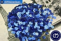 Французские пайетки Langlois-Martin синие металлик (2030) 3мм, 1000шт