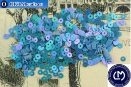 Французские пайетки Langlois-Martin синие радужные (5036) 3мм, 1000шт PP048