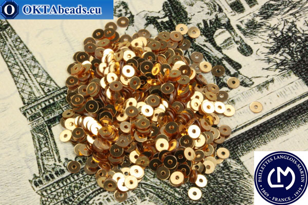 French sequins Langlois-Martin gold (Or C2) 3mm, 1000pc PP006