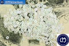 Французские пайетки Langlois-Martin белые радужные (5002) 3мм, 1000шт