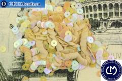 Французские пайетки Langlois-Martin бежевые радужные (5163) 4мм, 1000шт