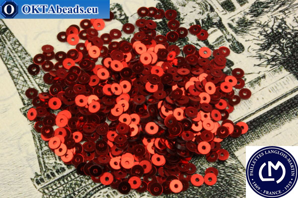 French sequins Langlois-Martin red metallic (2006) 3mm, 1000pc