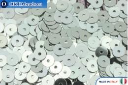 Итальянские плоские пайетки Argento Metallizzati (1111) 4мм, 2гр ITP-P4-1111
