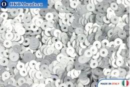 Итальянские плоские пайетки Argento Satinati (916W) 3мм, 2гр ITP-P3-916W