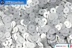 Итальянские плоские пайетки Argento Satinati (916W) 4мм, 2гр