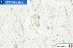 Итальянские плоские пайетки Bianco Satinati (176W) 4мм, 2гр