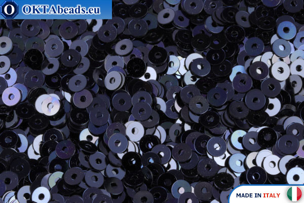 Итальянские плоские пайетки Blu Navy Metallizzati (6741) 3мм, 2гр ITP-P3-6741