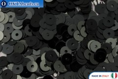 Итальянские плоские пайетки Nero Metal (9919) 4мм, 2гр ITP-P4-9919