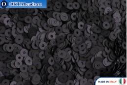 Итальянские плоские пайетки Nero Satinati (996W) 3мм, 2гр ITP-P3-996W