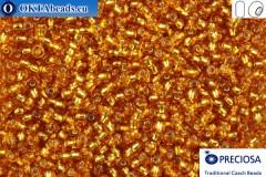 Прециоза чешский бисер 1 сорт топаз с прокрасом серебром (17070) 9/0, 50гр