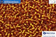 Прециоза чешский бисер 1 сорт топаз с прокрасом серебром (17090) 9/0, 50гр R09PR17090