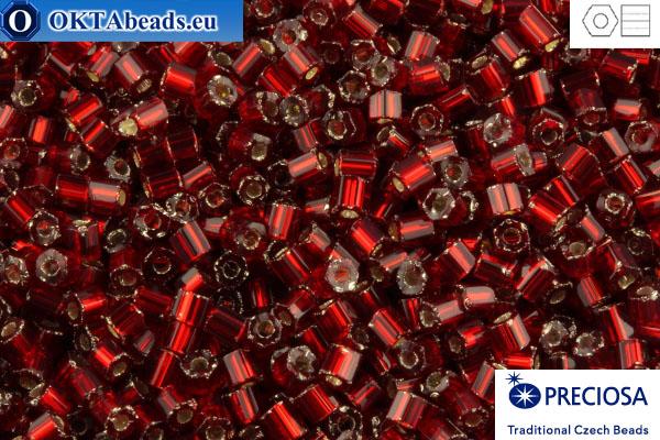 Preciosa český dvoukrátky 1 jakost granát stříbrné linie (97090) 11/0, 50g C11PR97090