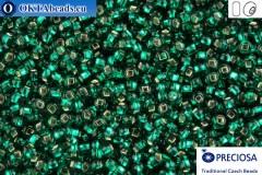 Прециоза чешский бисер 1 сорт изумруд с прокрасом серебром кв др (57710s) 11/0, 50гр