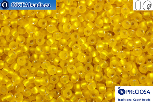 Прециоза чешский бисер 1 сорт желтый с прокрасом серебром матовый (87010m) 10/0, 50гр R10PR87010m