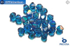 Preciosa Crystal Bicone - Capri Blue AB 3mm, 24pc