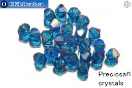 Preciosa Křišťálové Korálky - Capri Blue AB 4mm, 24ks 4PRcrys28