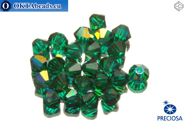 Preciosa Crystal Bicone - Emerald AB 3mm, 24pc 3PRcrys14