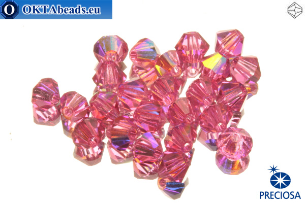 Preciosa Crystal Bicone - Rose AB 3mm, 24pc