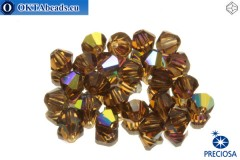 Preciosa Crystal Bicone - Smoked Topaz AB 4mm, 24pc