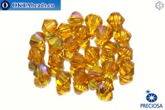 Preciosa Crystal Bicone - Topaz AB 4mm, 24pc